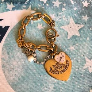 Juicy Couture Gold Rare Pearl Heart Charm Bracelet